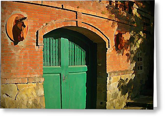 John Malone Halifax Artist Greeting Cards - Tuscany Door with Horse Head Carvings Greeting Card by John Malone