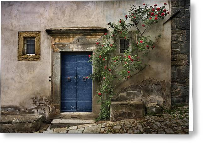 Italian Wine Greeting Cards - Tuscany Entrance Cortona Greeting Card by Al Hurley