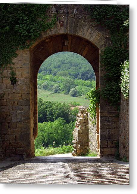 Chianti Greeting Cards - Tuscany Etruscan doorway Greeting Card by Mathew Lodge