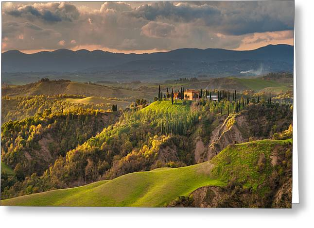 Spring Scenes Pyrography Greeting Cards - Tuscany farmhouse on green fields Greeting Card by Jaroslaw Pawlak