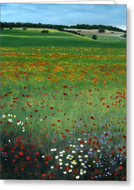 Tuscany Flower Field Greeting Card by Cecilia Brendel
