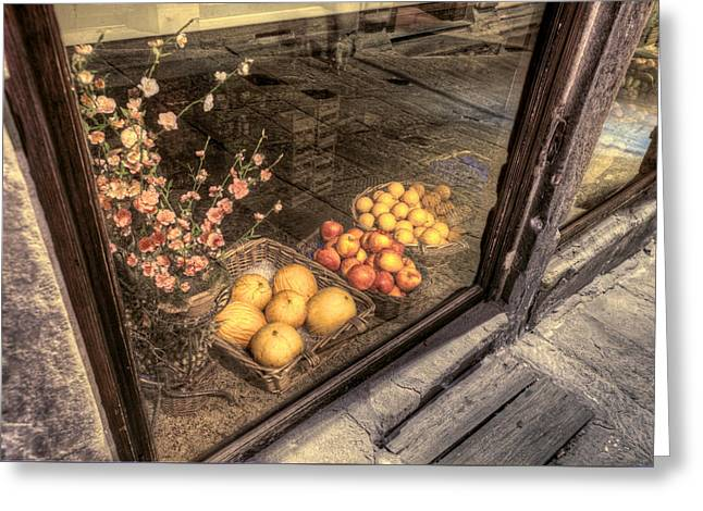 Hilltown Greeting Cards - Tuscany fruit market Cortona Greeting Card by Al Hurley