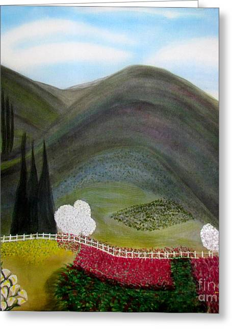 Trees Greeting Cards - Tuscany Garden Greeting Card by Veronica V Bahman
