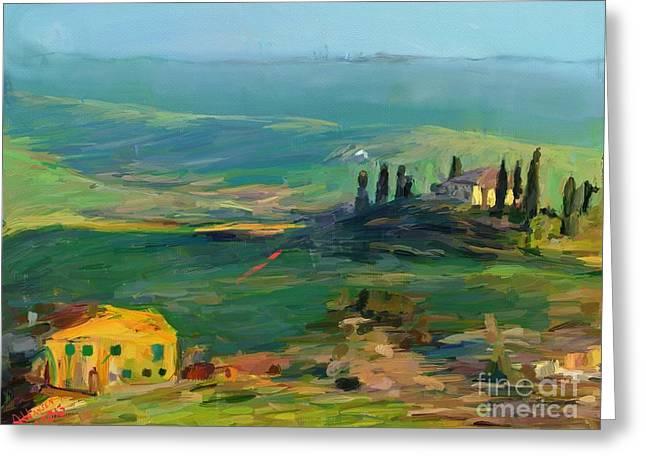 Tuscan Sunset Greeting Cards - Tuscany II Greeting Card by Arne Hansen