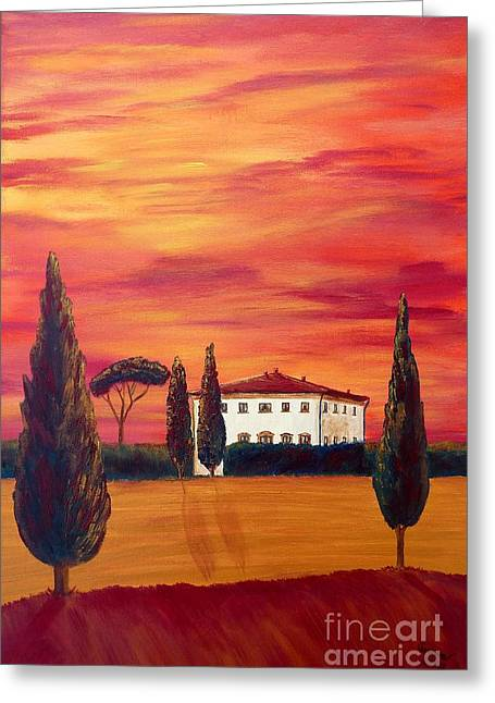 Tuscan Sunset Greeting Cards - Tuscany in red Greeting Card by Christine Huwer