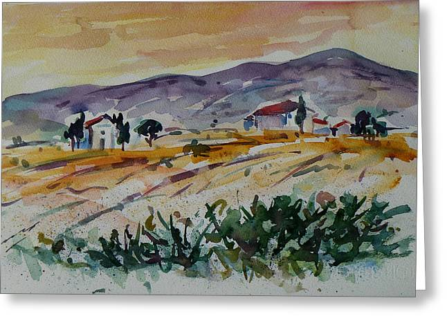 Harvest Art Greeting Cards - Tuscany Landscape 1 Greeting Card by Xueling Zou