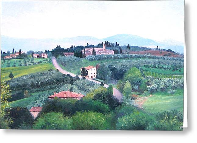 Tuscan Hills Greeting Cards - Tuscany Landscape Greeting Card by Jan Matson