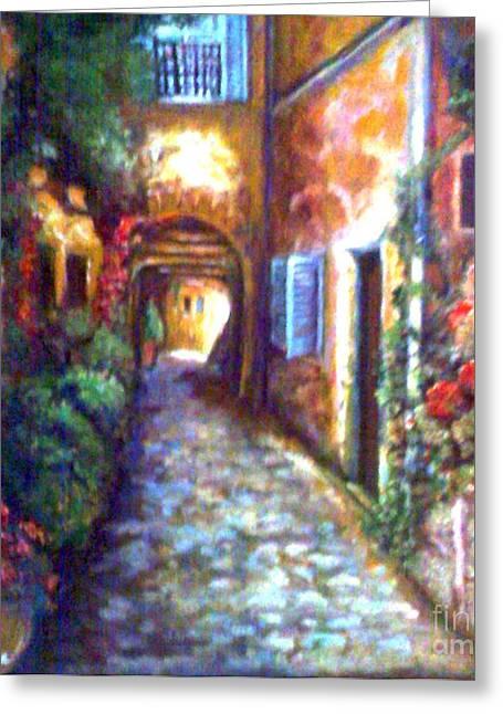 Shudder Greeting Cards - Tuscany Lane Greeting Card by Barbara LeMaster