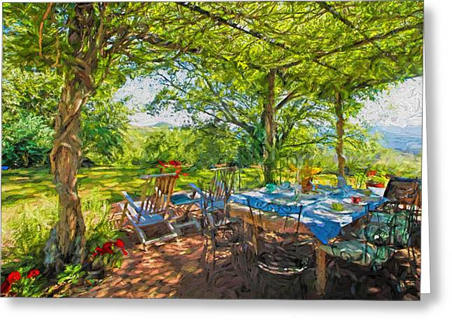 Lawn Chair Mixed Media Greeting Cards - Tuscany Lunch Greeting Card by Garland Johnson