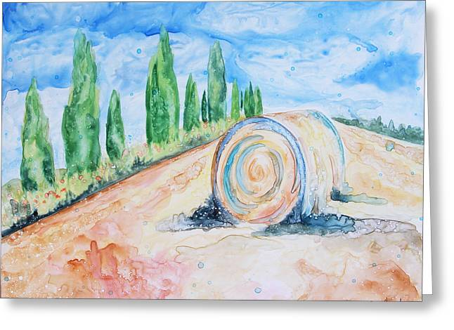 Yupo Paper Greeting Cards - Tuscany on My Mind Greeting Card by Shaina Stinard