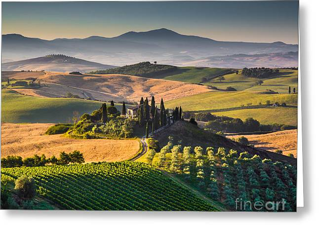 Tuscan Hills Greeting Cards - Tuscany Sunrise Greeting Card by JR Photography