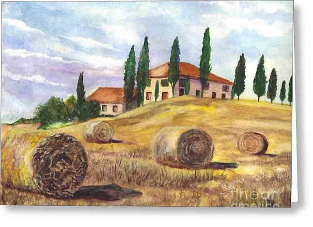 Tuscan Hills Drawings Greeting Cards - Tuscany Villa Greeting Card by Carol Wisniewski
