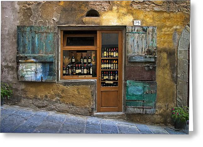 Clock Photographs Greeting Cards - Tuscany Wine shop Greeting Card by Al Hurley