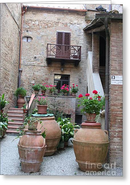 Tuscany Yard Greeting Card by Christiane Schulze Art And Photography