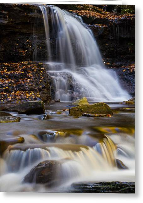 Tuscarora Greeting Cards - Tuscarora Falls at Ricketts Glen in autumn Greeting Card by Jetson Nguyen