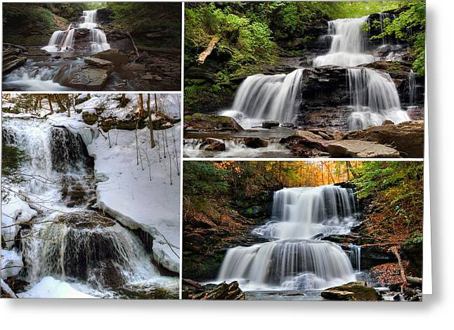 Tuscarora Greeting Cards - Tuscarora Falls In Every Season Greeting Card by Gene Walls