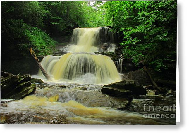 Tuscarora Greeting Cards - Tuscarora Falls Greeting Card by Sean Sensenig