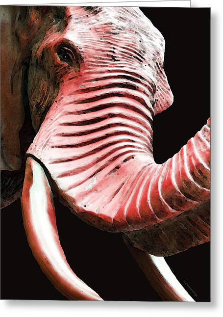 Sec Greeting Cards - Tusk 4 - Red Elephant Art Greeting Card by Sharon Cummings