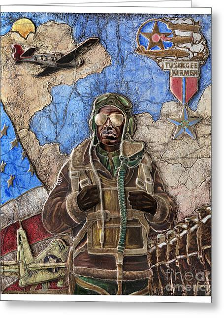 World War 2 Airmen Greeting Cards - Tuskegee Airman Greeting Card by Anthony High