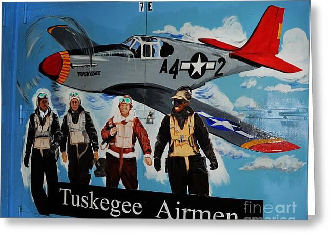 Black Wings Greeting Cards - Tuskegee Airmen Greeting Card by Leon Hollins III