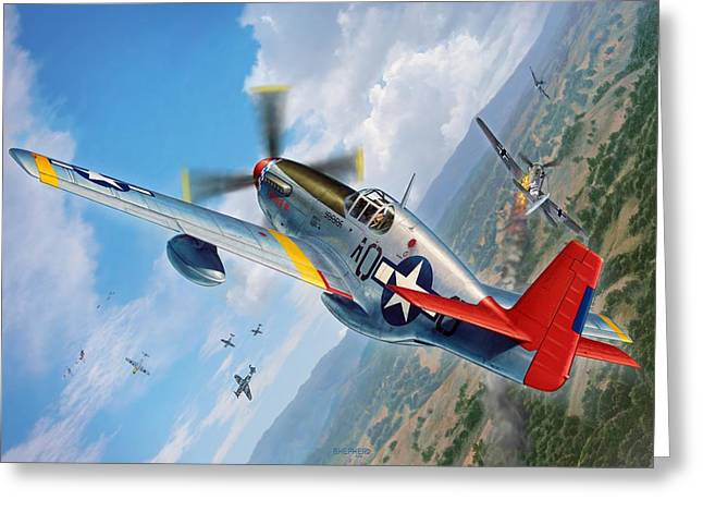 Tuskegee Airmen P-51 Mustang Greeting Card by Stu Shepherd