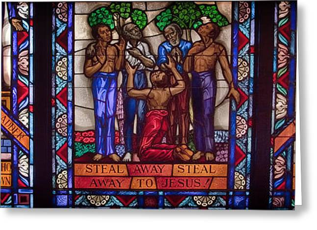 Duke Glass Art Greeting Cards - Tuskegee Chapel Stained Glass Greeting Card by Mountain Dreams
