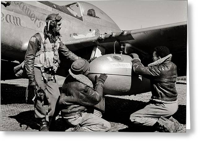 Tuskegee Airman Greeting Cards - Tuskegee Preflight Greeting Card by Benjamin Yeager