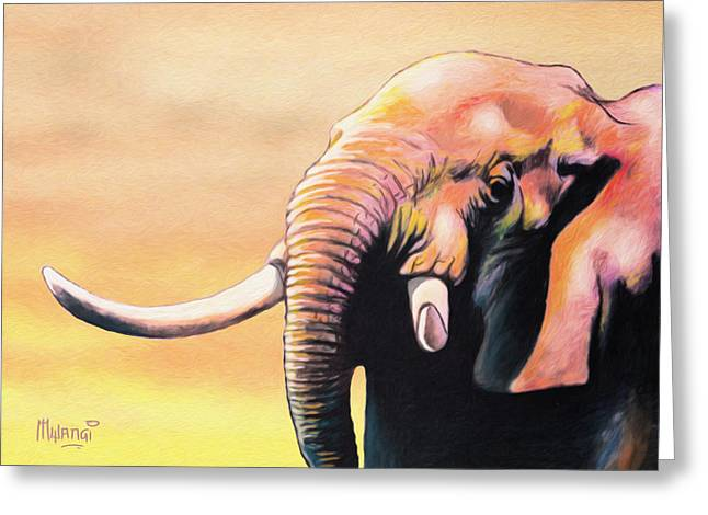Kenya Greeting Cards - Tusker Greeting Card by Anthony Mwangi