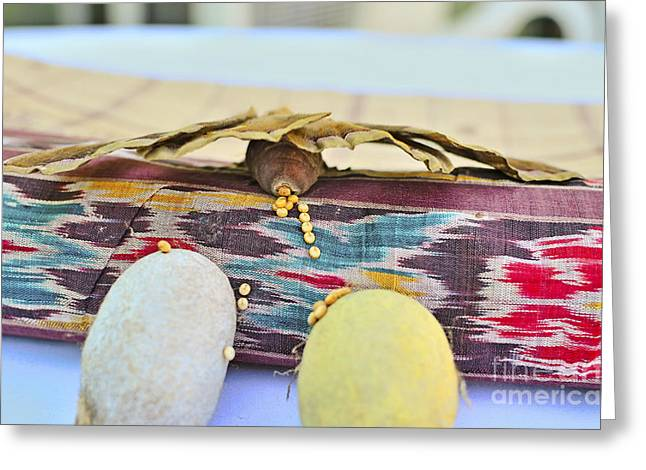 Cocoon Greeting Cards - Tusser silk moth or Antheraea mylitta with cocoons and eggs   Greeting Card by Image World