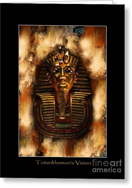 Pharaoh Mixed Media Greeting Cards - Tutankhamens Vision Greeting Card by Skye Ryan-Evans
