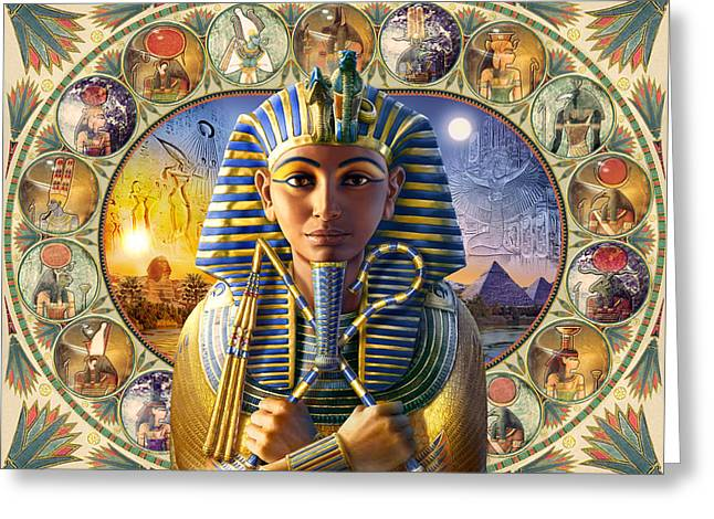 Pharaoh Photographs Greeting Cards - Tutankhamun Landscape Greeting Card by Andrew Farley