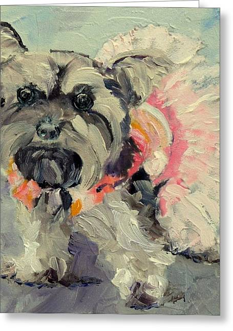 Puppies Mixed Media Greeting Cards - TuTu - a pup Greeting Card by Saundra Lane Galloway