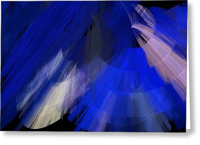 Tutu Mixed Media Greeting Cards - TuTu Stage Left Blue Abstract Greeting Card by Andee Design