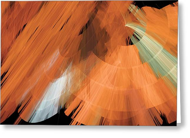 Tutu Mixed Media Greeting Cards - TuTu Stage Left Peach Abstract Greeting Card by Andee Design