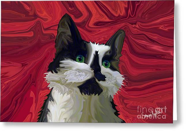 Tuxedo Digital Art Greeting Cards - Tuxedo Cat Hits the Red Carpet Greeting Card by Sherin  Hylan