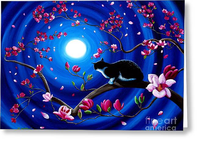 Tuxedo Greeting Cards - Tuxedo Cat in a Japanese Magnolia Tree Greeting Card by Laura Iverson