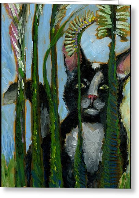 Ventura California Greeting Cards - Tuxedo Cat in the Cat Tails. Im not here.  Greeting Card by Cathy Peterson