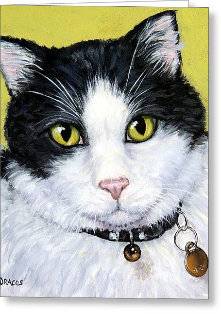 Tuxedo Greeting Cards - Tuxedo Cat on Light Green Greeting Card by Dottie Dracos