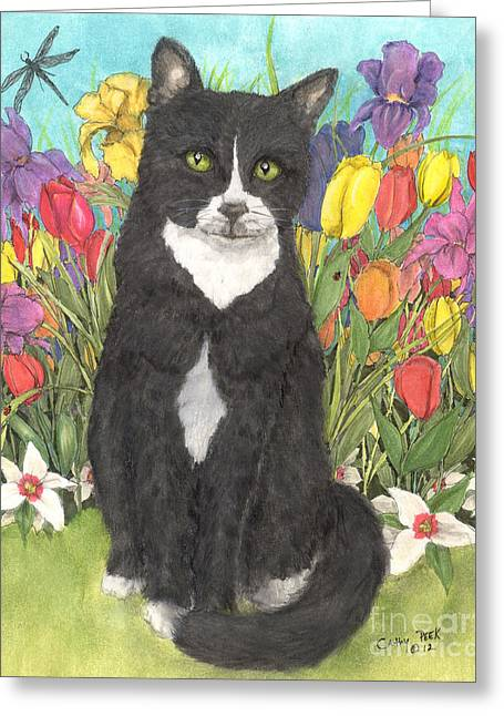 Tuxedo Greeting Cards - Tuxedo Cat Spring Flowers Feline Animal Pets Art Greeting Card by Cathy Peek