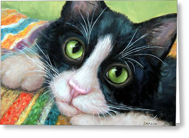 Tuxedo Greeting Cards - Tuxedo Cat with Blankie Greeting Card by Dottie Dracos