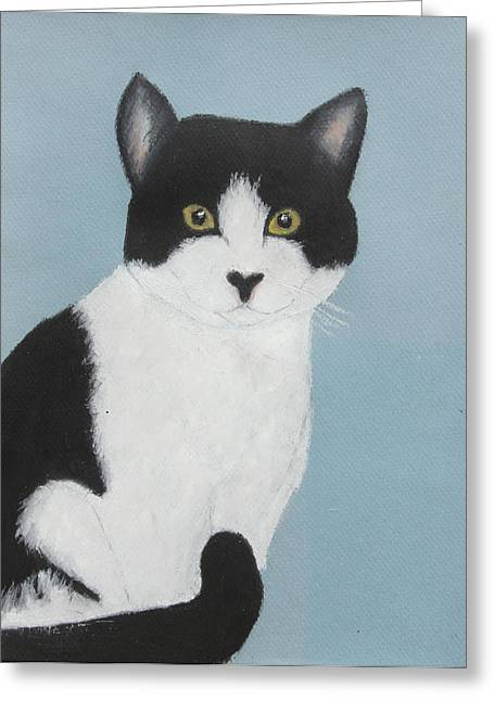 Creature Pastels Greeting Cards - Tuxedo Nellie Greeting Card by Jeanne Fischer