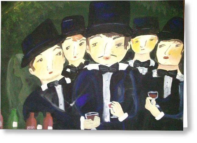 Wine Sipping Paintings Greeting Cards - Tuxedos Greeting Card by Vickie Meza