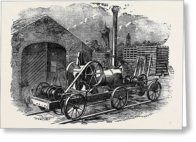 Tuxford And Sons Steam Pile-driving Engine Greeting Card by English School