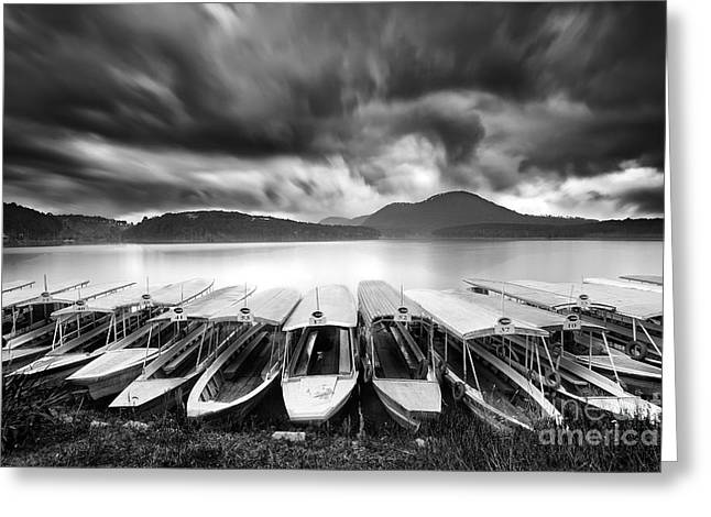 Dalat Greeting Cards - Tuyen Lam Lake Dalat city Greeting Card by Duy Black