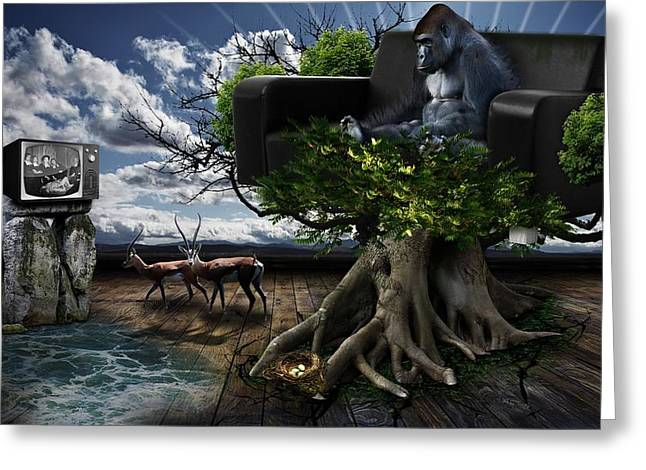 Recliner Greeting Cards - TV and Society Greeting Card by Mountain Dreams