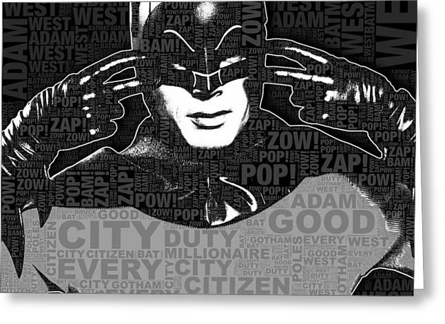 Crime Fighter Mixed Media Greeting Cards - TV Batman Adam West and Quotes Greeting Card by Tony Rubino
