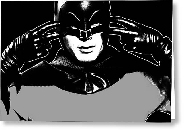 Crime Fighter Mixed Media Greeting Cards - TV Batman Adam West Greeting Card by Tony Rubino