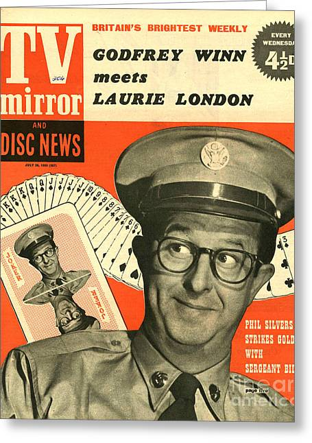 British Celebrities Greeting Cards - Tv Mirror  1958  1950s Uk Phil Silvers Greeting Card by The Advertising Archives