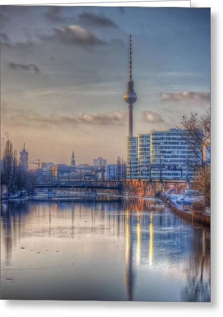 Ddr Greeting Cards - TV tower sunset Greeting Card by Nathan Wright