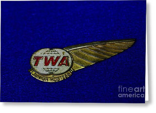 Hostess Greeting Cards - TWA Aviation WIngs Greeting Card by Paul Ward